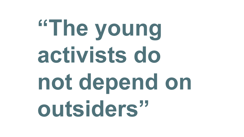 "Fergal Keane quote: ""The young activist do not depend on outsiders"""