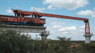 A track-laying machine at the construction site of Standard Gauge Railway (SGR) in Nairobi, Kenya - Saturday 23 June 2018