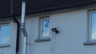 A broken window at a house in Carrowdore