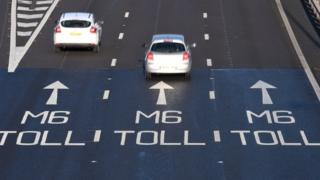 M6 toll road sign