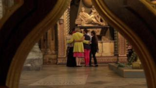 The women visiting Westminster Abbey, accompanied by Baroness Nicholson