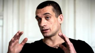 Russian artist Pyotr Pavlensky at his lawyer's office in Paris, 14 February 2020