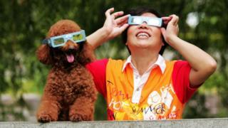 Perro y dueño con lentes de eclipse solar.