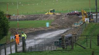 Contractors at the site of Hendy Wind Farm, Powys