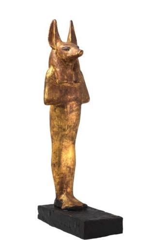 Золоченая деревянная скульптура Дуамутефа. В полую статуэтку бога Дуамутефа с крышкой в виде головы шакала при бальзамировании помещался желудок умершего