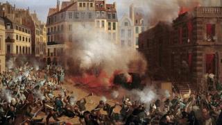 Chateau d'Eau thuộc Cung điện Hoàng gia (Palais-Royal) ở Paris bị đốt cháy năm 1848,