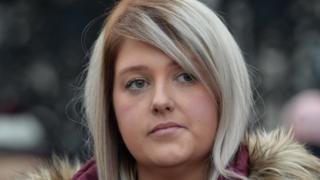 Sarah Ewart arriving at Belfast High Court court on Thursday