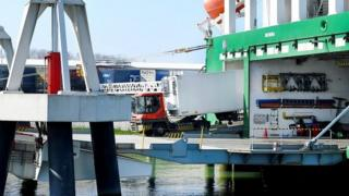 Lorry pulling out of ferry at Rotterdam