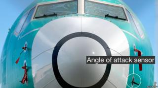 Nose of a Boeing 737 Max showing the angle of attack sensors