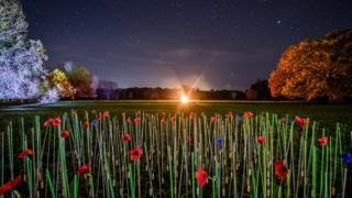 A beacon burns bright at Barrington Court in Somerset - one of more than 1,000 lit across the UK