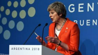"Theresa May has sought to reassure world leaders that her Brexit deal is ""good for the global economy""."