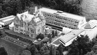 The modernist extension to St Peter's College, with Kilmahew House alongside