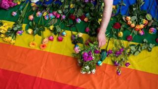 lgbt bayrağına bir çiçek bırakılıyor