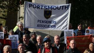 pensioners demonstrate