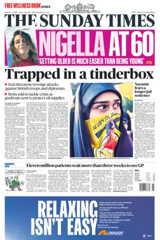 Sunday Times front page 5 January 2020
