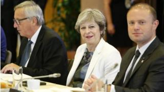 Jean-Claude Juncker, Theresa May and Malta PM Joseph Muscat at the summit on Friday