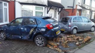 Cars damaged by crash