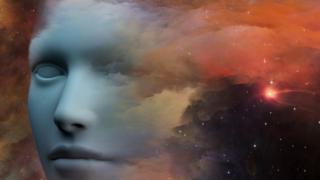 ilustración de un rostro en el espacio
