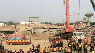 The scene of the Lahore factory collapse