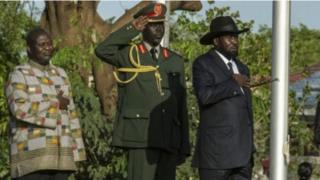 Rais Salva Kiir na aliyekuwa makamu wake Riek Machar
