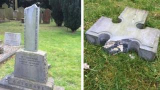 The politician's headstone has been smashed in an attack at Goldenbridge Cemetery