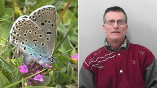 A composite image of Philip Cullen and a Large Blue butterfly
