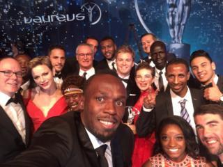 El selfie de Usain Bolt en los Premios Laureus
