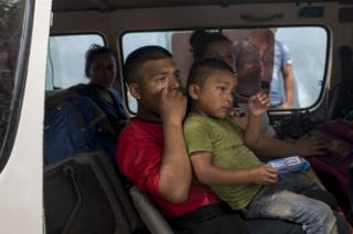 Migrants who have crossed into Mexico
