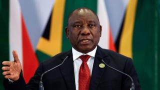 South African President Cyril Ramaphosa speaking in Johannesburg, July 2018