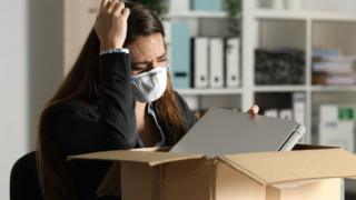 Woman packing work items