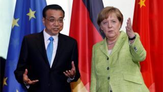 德国总理默克尔和到访的中国总理李克强