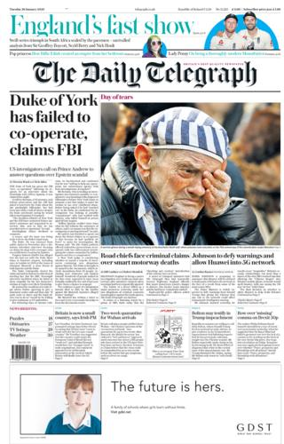 Tuesday's Daily Telegraph front page