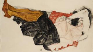 Woman Hiding Her Face, a drawing by Egon Schiele