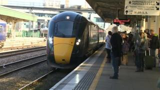 A train arrives at Cardiff Central