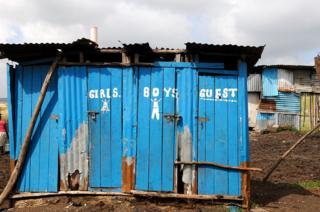 A row of pit latrines