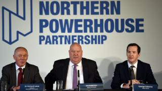 Leader of Manchester City Council Sir Richard Leese, Mayor of Liverpool Joe Anderson and former British finance minister George Osborne
