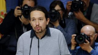 Leader of Podemos Party Pablo Iglesias during a press conference after his meeting with Socialist Party leader Pedro Sanchez (not at the image) in Madrid, Spain on 05 February 2016