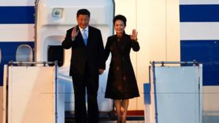 Chinese President Xi Jinping and First Lady Peng Liyuan arrive in Buenos Aires, Argentina, 29 November 2018