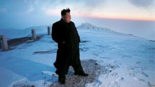 Kim Jong-Un on top of Mt Paektu in 2017