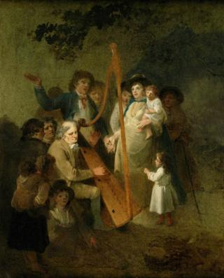 'John Smith, the blind harper of Conway, with penillion singers', 1793 - Julius Ibbetson