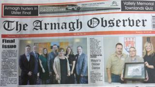 The front page of the final edition of the Armagh Observer