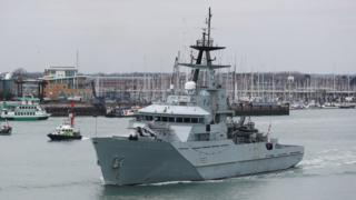 HMS Mersey leaving Portsmouth