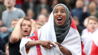 England fans react in Leeds