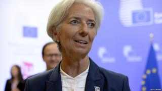 Managing Director Christine Lagarde at the end of an Eurozone Summit over the Greek debt crisis in Brussels on 13 July,, 2015