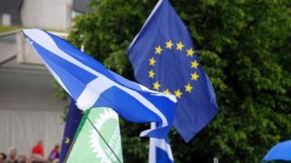 EU and Scottish flag