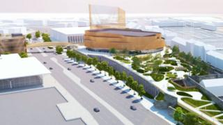 Artist impression of the arena and surrounding coastal park in Swansea