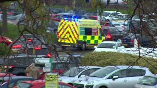 Ambulance in car park through trees