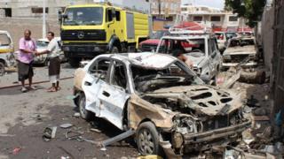 A bomb strike in Yemen. File photo