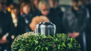 Urn at funeral