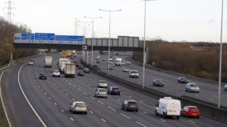 M25 near Heathrow Airport in Surrey